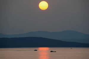 Sunset over Lake Champlain Burlington, Vermont.