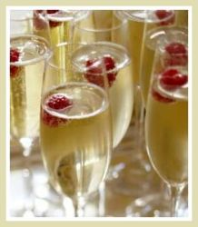 champagne and raspberries